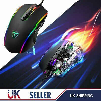 Wired Usb Optical Mouse For Pc Laptop Computer Scroll Wheel - Black Uk 7200 Dpi