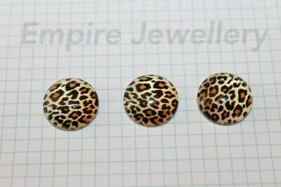 2 x Leopard Print Pattern 12x12mm Glass Cabochons Cameo Dome Animal