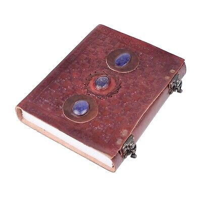 """Handmade Large 8"""" Embossed Leather Journal Celtic two latches blue stone diary"""