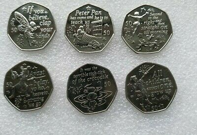 Rare & Uncirculated Peter Pan 50p Coins full set Isle of Man 2019 .