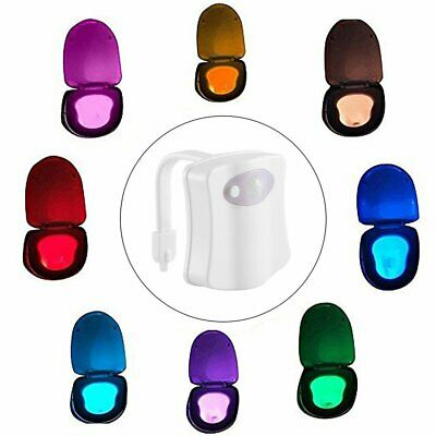 8Color Changing LED Toilet Bathroom Night Light  Motion Activated Seat Sensor QJ