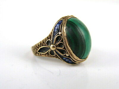 Silber Emaille Cloisonne RING - Silber 84 Russland - Malachit