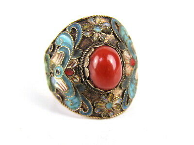 Silber Emaille Cloisonne RING - Silber 84 Russland - Koralle