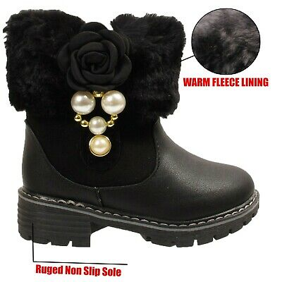 Kids Girls Infants Warm Snugg Winter Fur Lined Snow Winter Ankle Boots Size