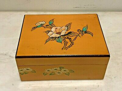 Chinese Vintage Hand Painted Lacquer Jewelry Box, Art Deco Period