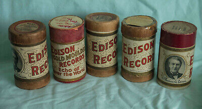 FIVE -  EDISON PHONOGRAPH CYLINDERS - Set 2 of 4