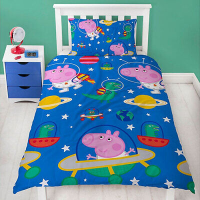 SINGLE BED DUVET COVER PEPPA PIG GEORGE Planets Reversible Cover & Pillow Set