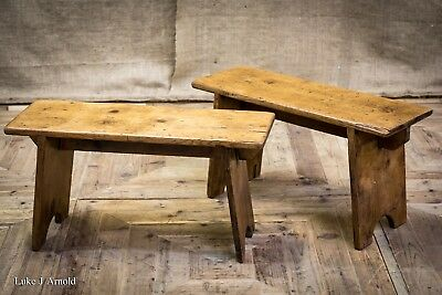 Antique 19th Century Pair of Small Waxed Pine Wooden Benches