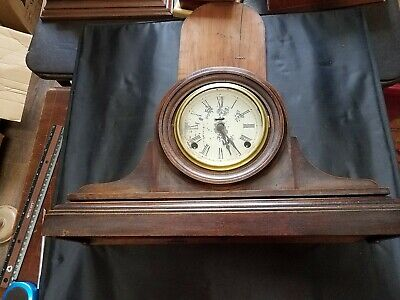 Wooden with Glass Door Face Cover Mantle Clock with 2 Key Holes,Chimes, works
