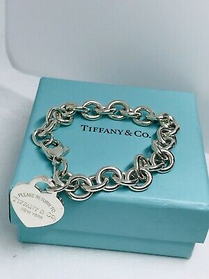 "Please Return to Tiffany & Co Sterling Silver Heart Tag Charm Bracelet 7"" long"
