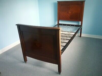 edwardian single inlaid mahogany bed