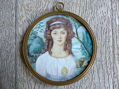 SUPERB & LARGE ANTIQUE 19th CENTURY YOUNG LADY MINIATURE PORTRAIT 1830's SIGNED