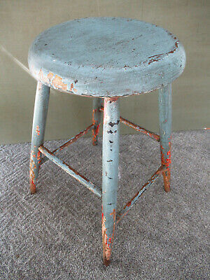 """Antique Stool Primitive Vintage Wood 24"""" Tall Blue Red White Paint, 4-Leg Stand"""