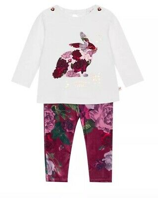 Ted Baker - Baby girls' white printed top and leggings set BNWT