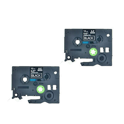 2PK White on Black TZe335 Label Tape Compatible for Brother P-Touch PT200 PT1000