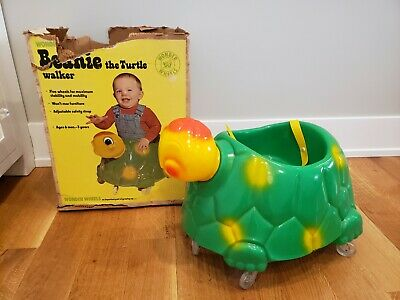 Rare HTF Vtg Wonder Products Co Wheels Beanie the Turtle Baby Walker Box Horse