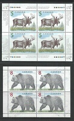 CANADA stamps MOOSE #1693 GRIZZLY BEAR #1694TWO FULL PANE SUPER USED