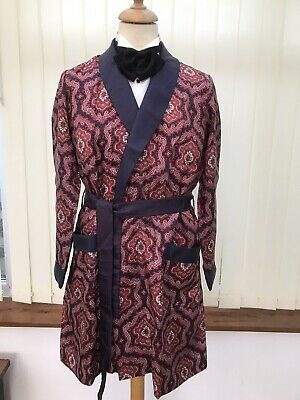st michael vintage silky men's dressing gown smoking jacket size m 38c red blue