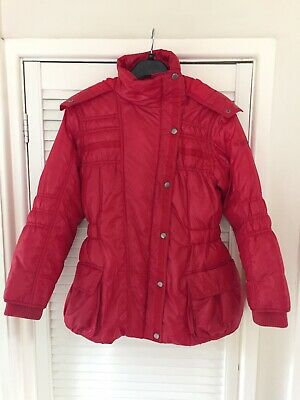 Next Girls Red Winter Warm Coat Lucky Smile Size 11 - 12 Years Hooded