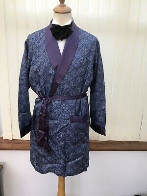 VINTAGE SILKY DRESSING GOWN SMOKING JACKET ROBE HOST DANDY  42/44C 60s 70s L M14