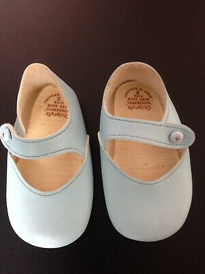 Original Vintage 1970s Chilprufe Baby Pram Shoes Blue Size 2 Made In England