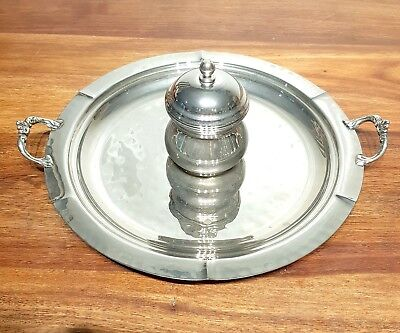 Superb ART DECO SILVER PLATED SET SUGAR POT & TRAY PLATTER SERVING DISH