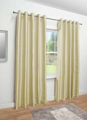 Luxury Faux Silk Eyelet Fully Lined Curtains - Ring Top