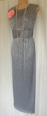 M & S MARKS & SPENCER (20) Silver Evening Dress /Weddings/Cruise/Mother of Bride