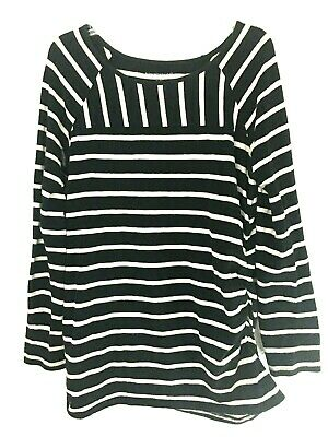 Liz Lange Maternity Knit Top Size Xl Black White Striped Ruched Side Long Sleeve