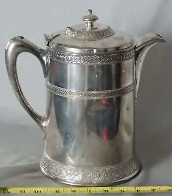 Antique Meridan Britannia Company water pitcher ca 1870 silver plated embossed