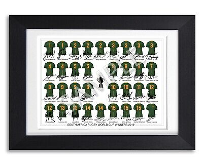 South Africa Rugby World Cup Winners 2019 Squad Team Signed Poster Photo Jersey