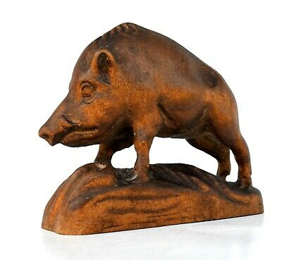 Carved wood Wild Boar Figurine Black Forest Style 4.1''