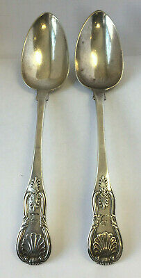 Antique Pair Sterling Silver Monogrammed Shell Pattern Serving Spoons.