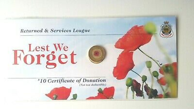 2012 Red poppy $2 Coloured coin Remembrance on RSL card UNC RARE Low Mintage