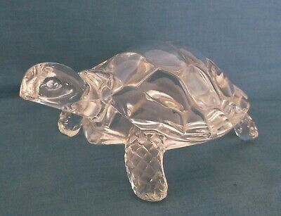 Vintage Crystal Glass Large Tortoise Turtle Animal Figure Paperweight Desk