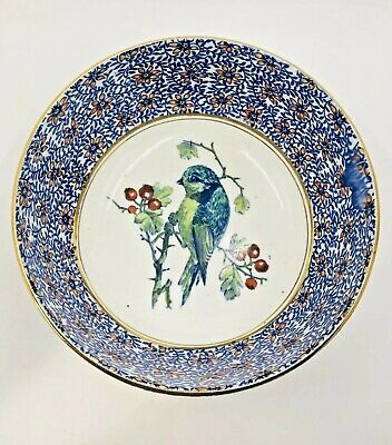 Antique Mintons Blue White Hand Painted Bird Pattern Large Bowl English