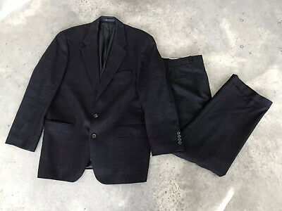 Polo University Club Ralph Lauren Blue Windowpane Wool (A13) Suit 43 R 43R 36x36