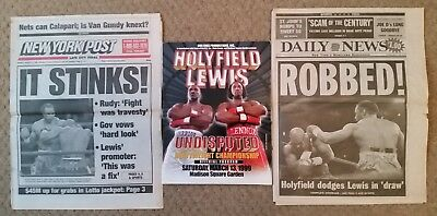 Holyfield V Lewis Official Boxing Programme + New York & Daily News Articles