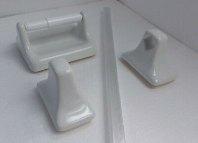 Arctic White Ceramic Towel Bar Rod Holders and Toilet Paper TP Holder Accessory