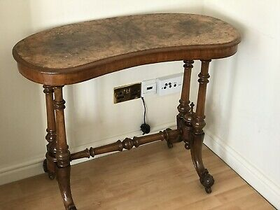 Late Victorian Kidney Shaped Figured Walnut Antique Table