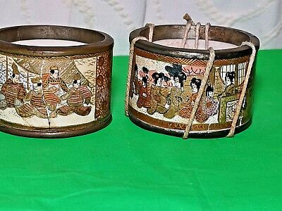 Rare Antique Satsuma Meiji Porcelain Brass Bound Napkin Rings Hand Painted Gold
