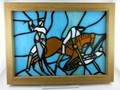 Battle of Hastings Stained Glass Panel 1066  King Harold New Handmade Signed