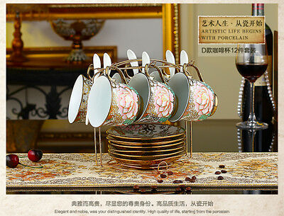 Porcelain Tea Set Teapot Sugar Bowl Creamer Cups & Saucers Metal Holder 18 Pcs
