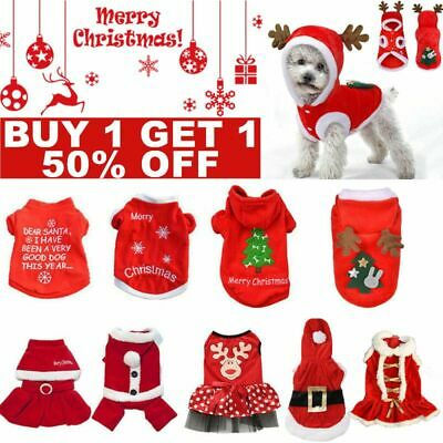 Cute Dog Puppy Christmas Santa Warm Costumes Coat Clothes Pet Apparel Shirt US