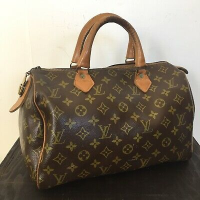 Vtg Authentic LOUIS VUITTON MONOGRAM SPEEDY 30 French Luggage Co USA LV PURSE