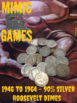 20 x Roosevelt Dimes, 1946 to 1964 90% Pure Silver USA Coins Rare Cent