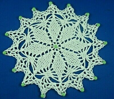 Vintage Green  Beaded Jug Cover White Hand Crocheted Body