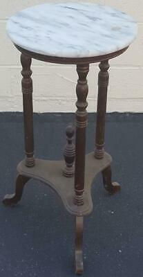 Beautiful Victorian Solid Wood Plant Stand - Marble Top - NEEDS TLC -VERY PRETTY