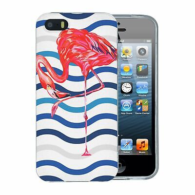 Pour Apple IPHONE 5 5S Se Silicone Étui Flamant Rose Tropical Motif - S5636