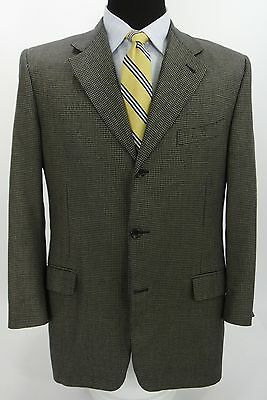 Canali Italy 3 Btn Sport Coat Jacket Silk Wool Blend Navy Blue Beige Check 42 R